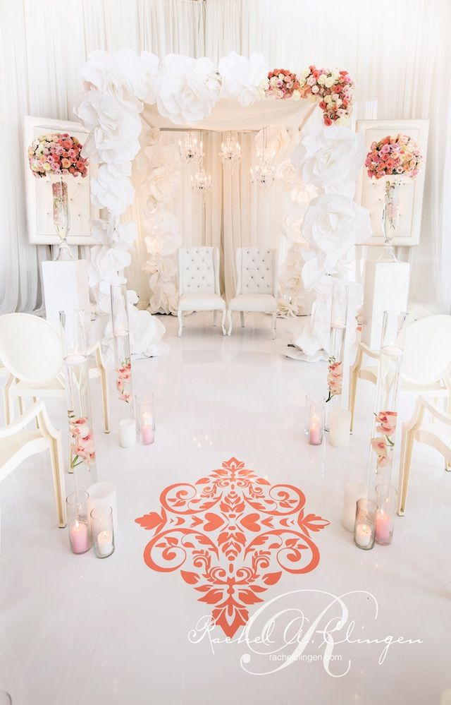 Paper flower Chuppa by wedding designer Rachel A. Clingen. photo credit @Rowell Photography