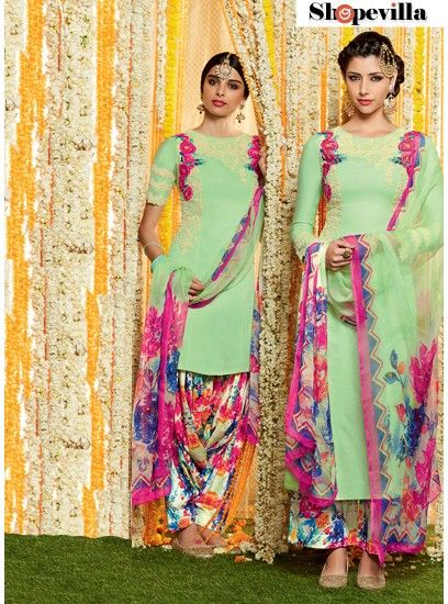 Pista Green Floral Print Pure Soft Cotton Patiala Dress Material-6615