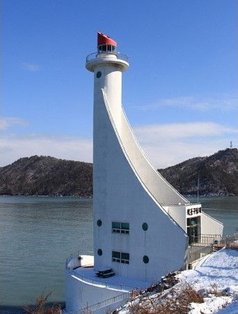 Lighthouses of South Korea: Sinan and Mokpo, Hwaweon Bando.  I love lighthouses and this one is so different.