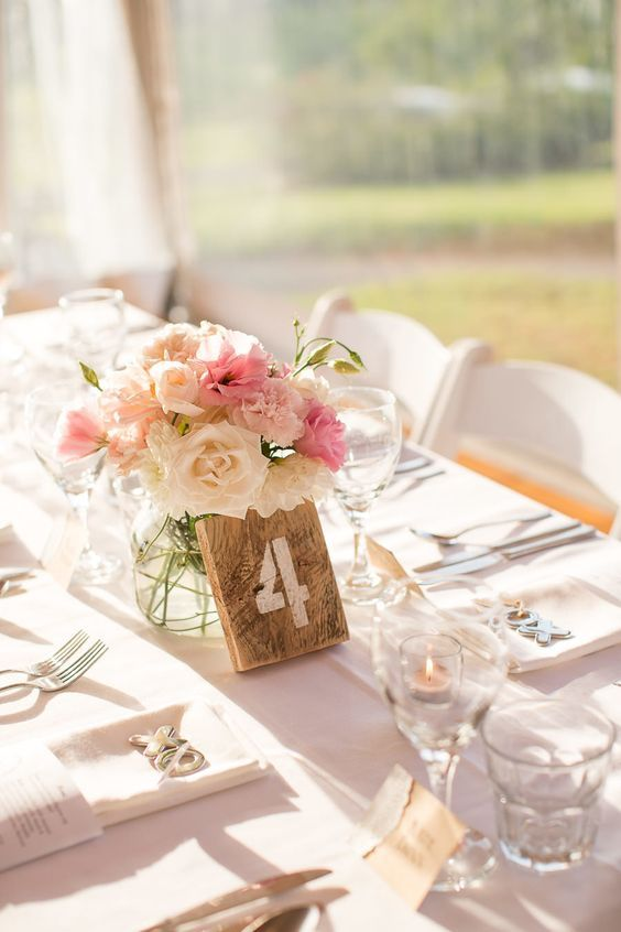 90 best wedding table numbers images on pinterest wedding table wooden wedding table numbers pink wedding centerpiece spring wedding tables cape sciox Images