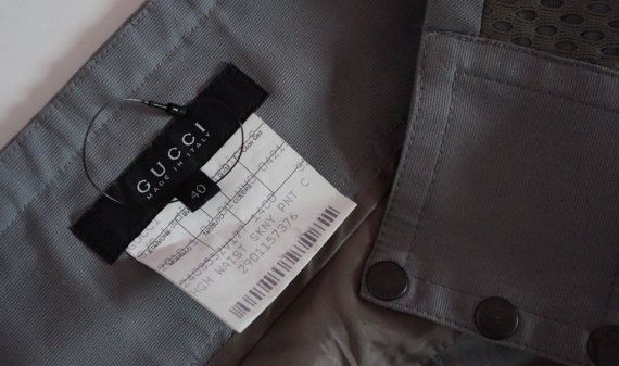 Hello Im glad youre here VINTAGE PANDORA shop  I offer vintage GUCCI trousers  color:grey size on tag 40 (italian size) 56% rayon 40% cotton 4%