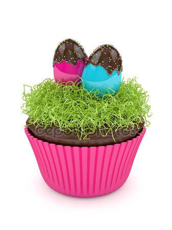 3d render of Easter muffin with grass and eggs — Stock Photo © ayo888 #141497536
