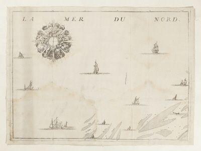 Karta över Nordsjön, vid holländsk-belgiska kusten.1750-tal.