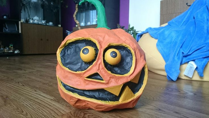 Halloween 🎃 pumkin homemade paper mache craft diy
