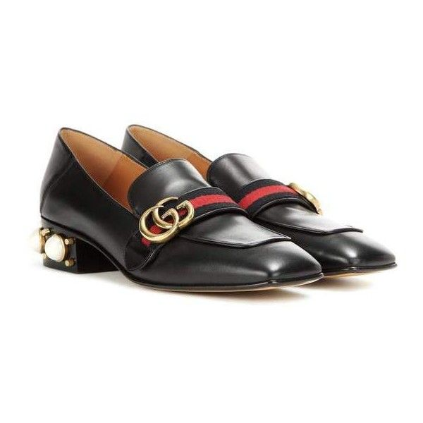 Gucci GG Mid Heel Loafer ($680) ❤ liked on Polyvore featuring shoes, loafers, genuine leather shoes, gucci footwear, loafers moccasins, mid heel loafer and leather shoes