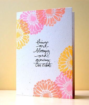 Things are blooming Card: Hot Color, Color Combos, Bloom Cards, Handmade Cards, Creative Cards, Pretty Cards, Cards Inspiration, One Layered Cards, Paper Secret