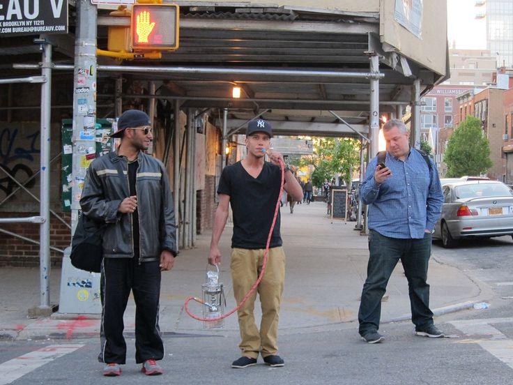 Hipster New Yorker with a fucking street hookah. A STREET HOOKAH.