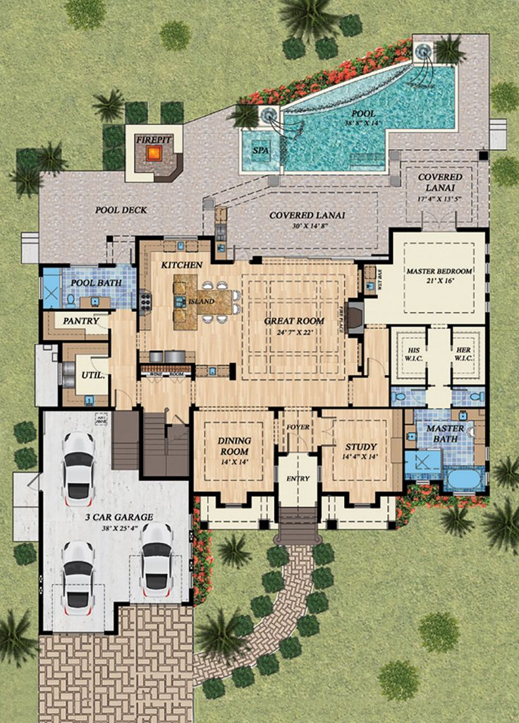 Mediterranean Style House Plan – 4 Beds 5.00 Baths…