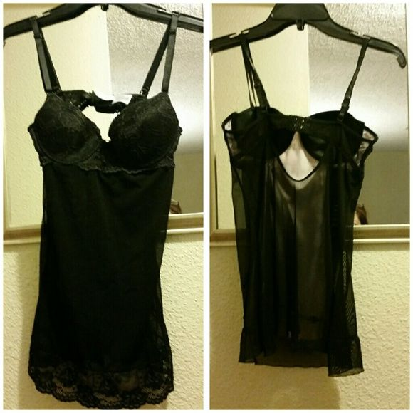 "RAMPAGE BLACK LINGERIE Sexy black lingerie by Rampage. * 85% Nylon  * 15% Spandex  Used in great condition. Measures 19"" Rampage Intimates & Sleepwear"
