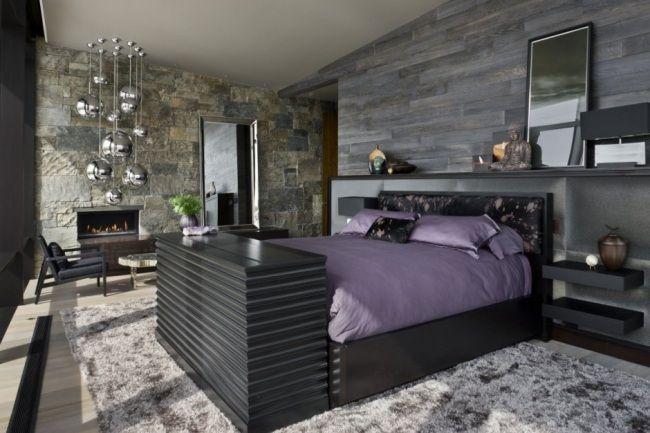 Schlafzimmer Einrichten Luxus Teppich Naturstein-Wand Akzent Metallische Effekte Pendelleuchte