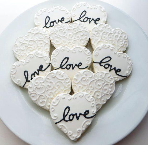 Corazón cookie favores decoración para una boda, despedida de soltera o San Valentín, 1 docena