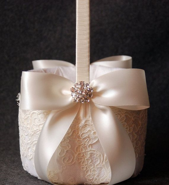 Flower Girl Basket with Light Ivory Lace and Double by YANDEBRIDAL, $85.00