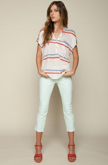 Cute 4th of July outfit (with a little mint green thrown in with the red, white blue)? Splendid Henley Tee & Skinny Pants  available at #Nordstrom