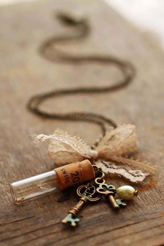 Real dandelion necklace , long charm necklace , wish pendant , antique skeleton key , miniature bottle locket , friendship necklace , trust