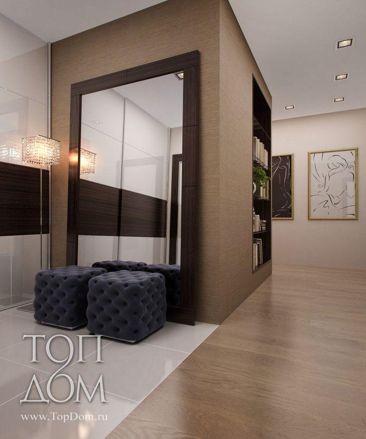 Прихожая.  Нравятся пуфы (объемные, уютные, утопающие), нравится что зеркало только прислонено к стене (а не прикручено, прибито, зафиксировано).