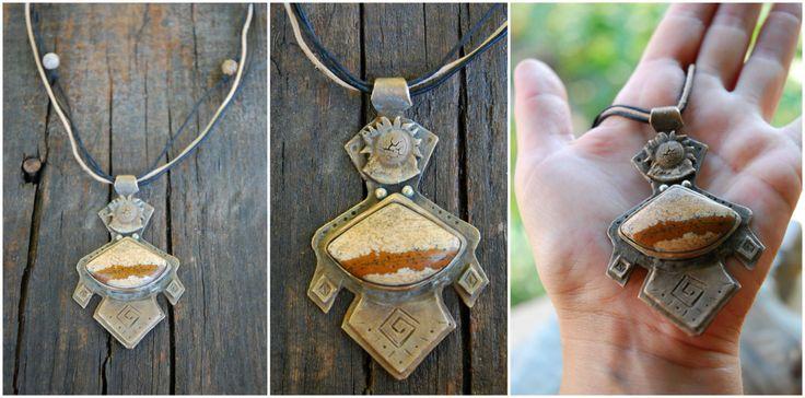 The sun pendant earthy jasper pendant aztek por AteljeaRtconFusion