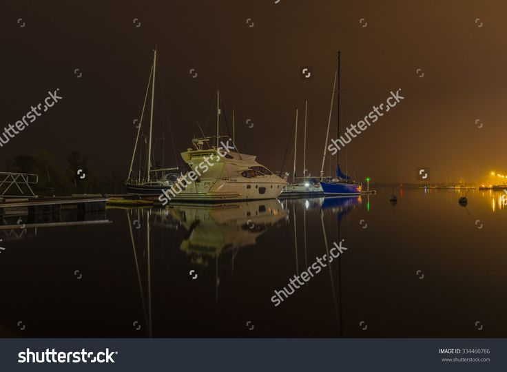 Szczecin, Poland - October 30, 2015: Water Ships Moored To The Jetty At The Port After Dark Stock Photo 334460786 : Shutterstock