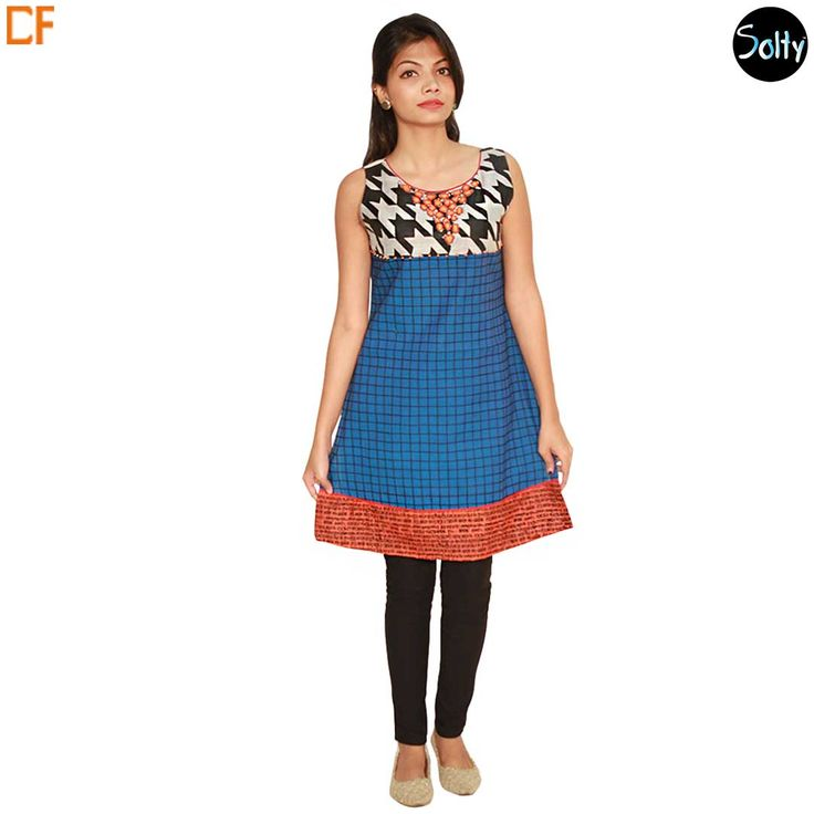 Multi Printed kurti in cotton material. Opt for cotton as it is a natural product and has many advantages, such as, it's ability to control moisture, insulate, weatherproof and a durable fabric. The kurti has a round neckline, sleeves, piping around the neckline, and interesting beaded work. Combination of prints throughout the kurti making it unique. http://www.droomfashion.com/shop/brands-kurtis/multiprinted-cotton-kurti/