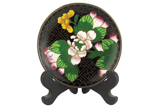 Cloisonné Enamel Dish w/ Stand by Ruby + George on @One Kings Lane