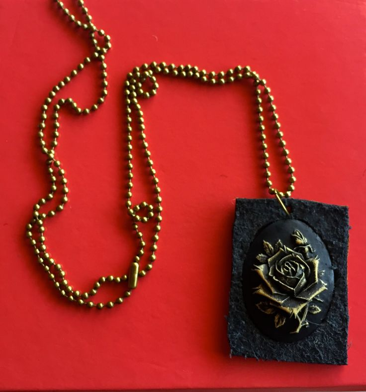 Rose cameo leather pendant on antiqued gold ball chain necklace