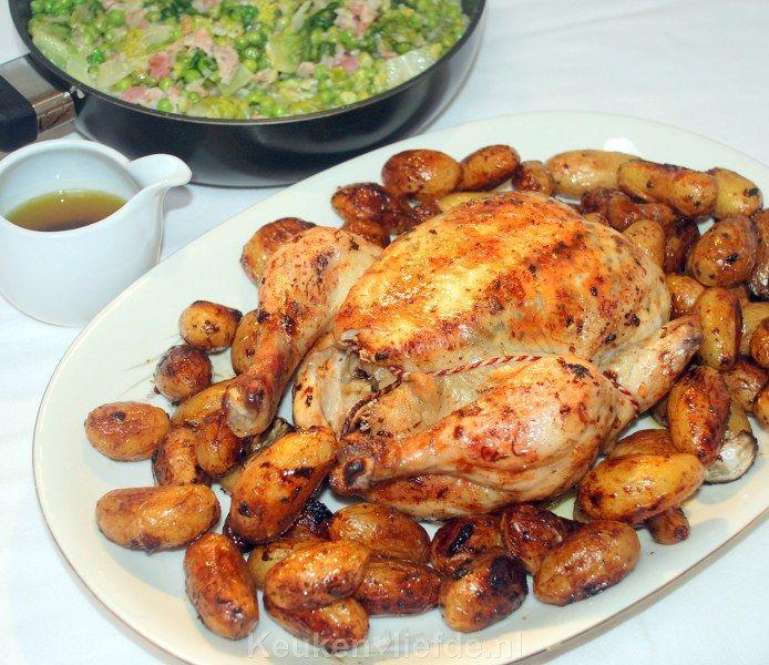 Hele kip uit de oven met krieltjes