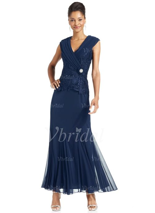 Mother of the Bride Dresses - $139.03 - Sheath/Column V-neck Ankle-Length Lace 30D Chiffon Mother of the Bride Dress With Ruffle Beading Flower(s) (0085101807)