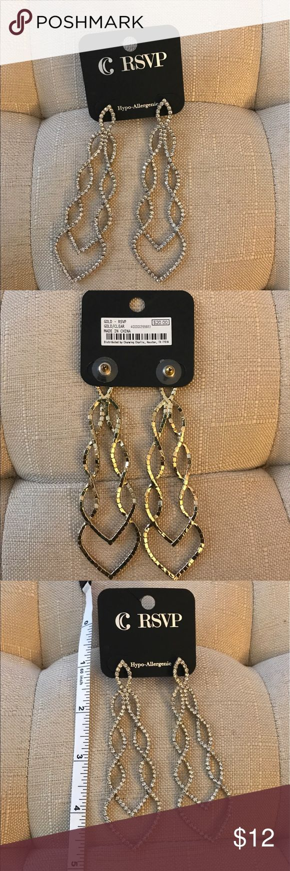DIAMOND CHANDLER EARRINGS by CHARMING CHARLIE DIAMOND CHANDLER EARRINGS by CHARMING CHARLIE. COLOR: GOLD/CRYSTAL/DIAMOND. LIGHT WEIGHT. HYPO ALLERGENIC. CONDITION: BRAND NEW/NEVER BEEN WORN. Charming Charlie Jewelry Earrings
