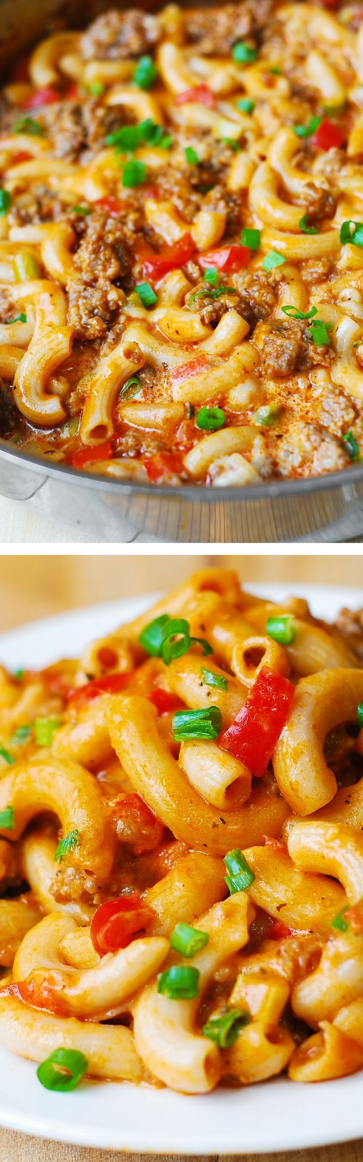 One-Skillet Mac and Cheese with Sausage and Bell Peppers, smothered in marinara sauce and cream. Everything is cooked in one skillet: sausage, bell peppers, and even pasta! For gluten free version, use gluten free brown rice pasta.