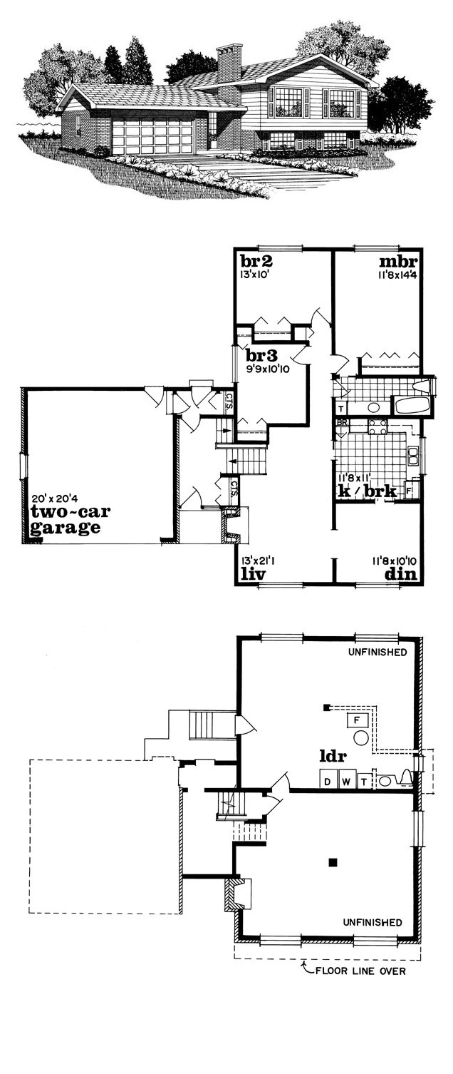 Saltbox House Plan 55142 | Total Living Area: 1328 Sq. Ft., 4