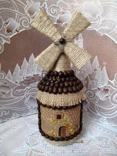 Upcycle bottle to windmill decor