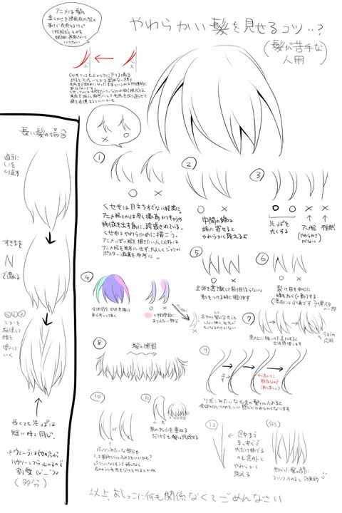 「髪の毛をやわらかく見せるためのポイント」/「ぶんぼん」のイラスト [pixiv]