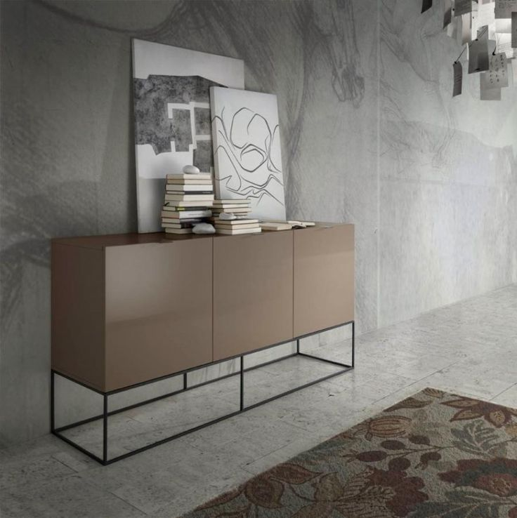 Contemporary Sideboard With A Metal Base And High Gloss Finish In 12 Possible Colours