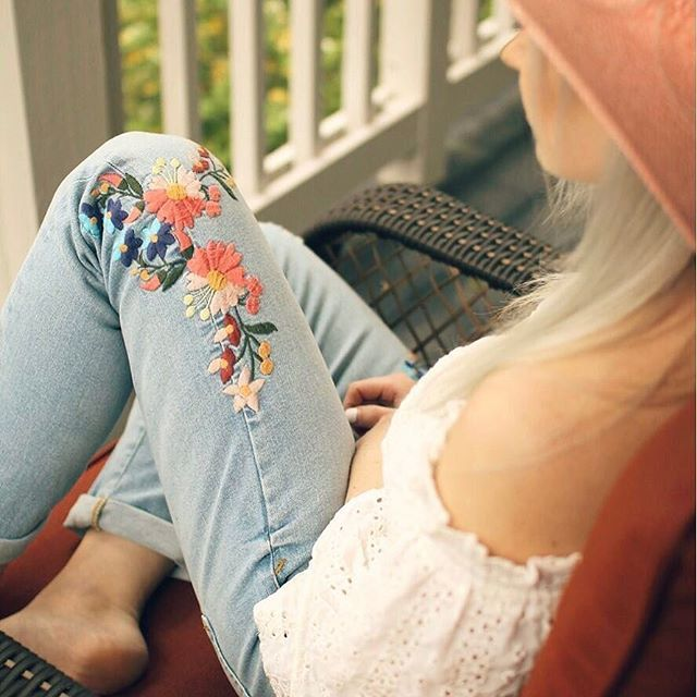 May flowers. Embroidered jeans always.