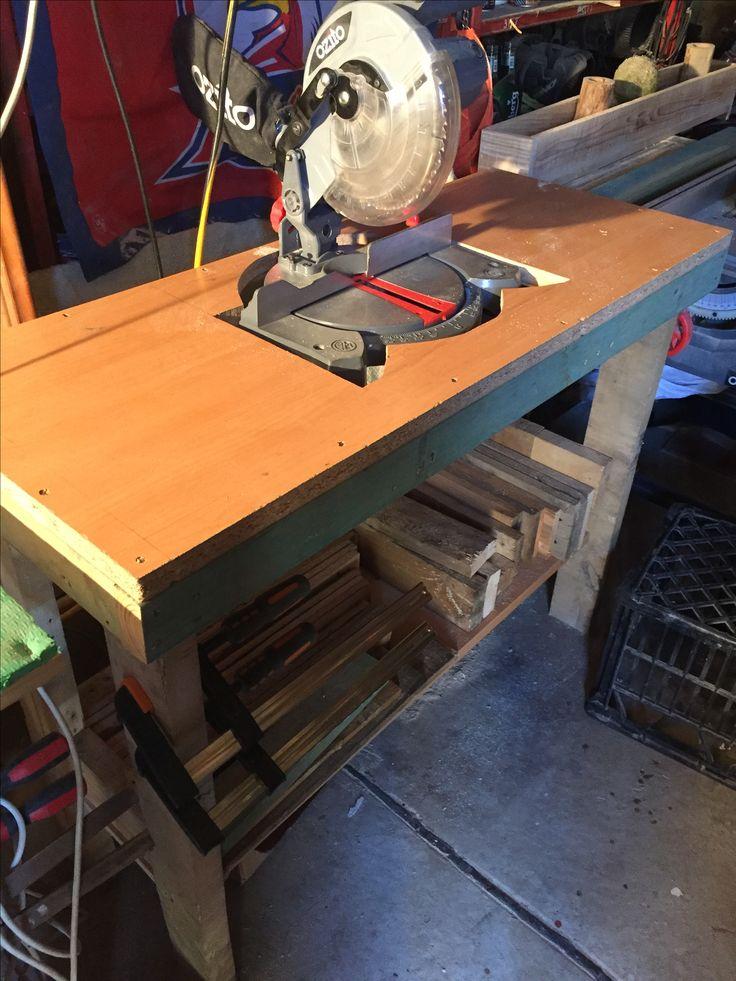 My drop saw bench.. recycled pallets and a computer table top.. works great and counter sunk into the table top..