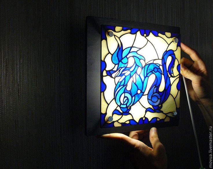 Купить Витражный светильник бра ночник Синий Дракон - тёмно-синий, синий, дракон, Витраж
