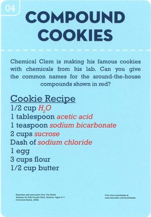 Turn an afternoon of baking into a science lesson by challenging your children to identify the chemical names of basic ingredients!
