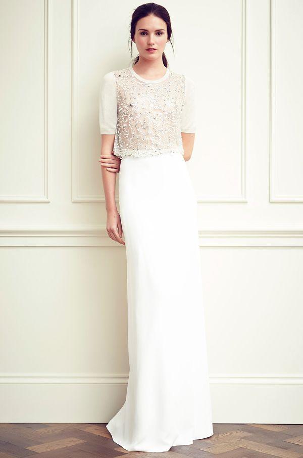 Delicate shimmery embellished shirt top + white skirt Jenny Packham Resort 2015 #Resort15 #fashion