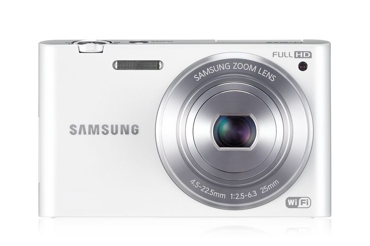 """Samsung MV900F White 16.3-megapixel Digital Camera. 16.31MP 1/2.33"""" BSI CMOS Sensor. 25-125mm f/2.5-6.3 Lens. 3.31"""" AMOLED Flip-Out Touchscreen. Full HD 1920 x 1080 30p Video. Gesture Shot for Self-Portraiture. Integrated Wireless Capabilities. Social Media Sharing and Auto Backup. Advanced In-Camera Photo Editing."""