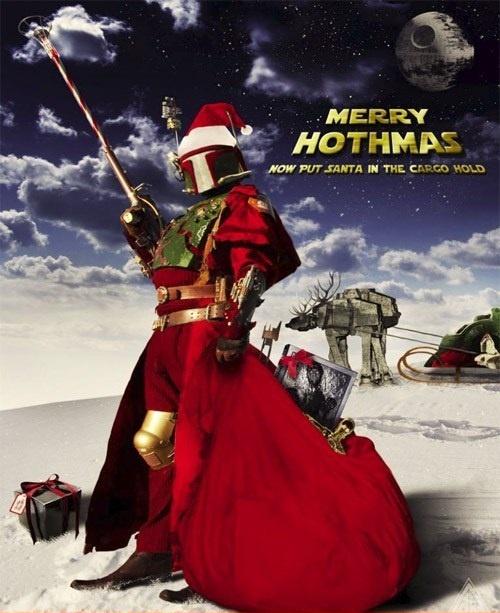 Merry Hothmas!: Christmas Cards, Starwars Xmas, Boba Fett, Scifi, Bobafett, Stars War Christmas, Merry Hothma, Happy Holidays, Christmas Ideas