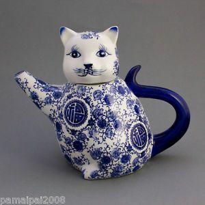Piccolo Teiera GATTO 16cm bianco blu bello Motivo Gatti Brocca per tè