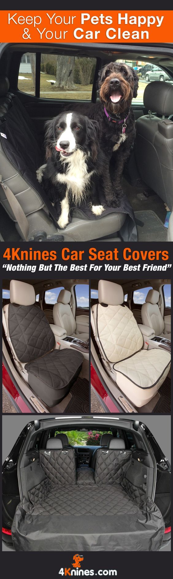 Like taking your dog for adventures? 4Knines Dog Car Seat Covers will protect your car from claws, fur, and dirt. Keep your car seats clean and fur-free on the way home: http://4knines.com/collections/all