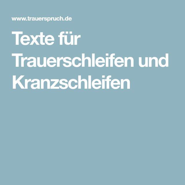 Texte für Trauerschleifen und Kranzschleifen