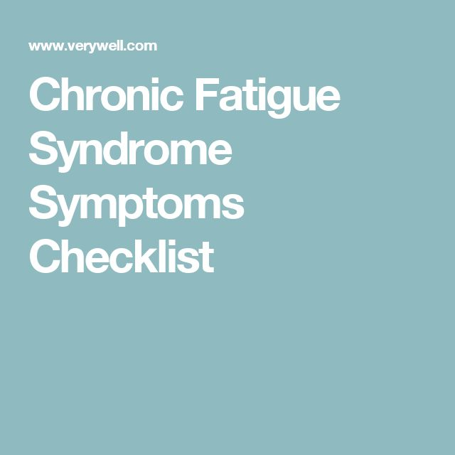 Chronic Fatigue Syndrome Symptoms Checklist