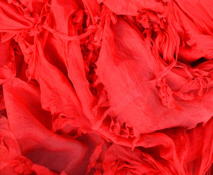 Red chiffon bridal gown- detail