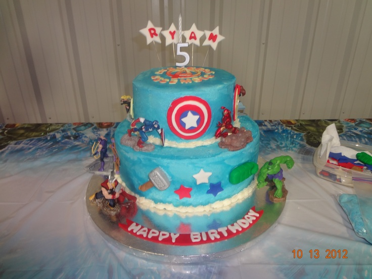 Cake Recipe For Icing With Fondant: Avengers Cake Made With Buttercream Frosting And