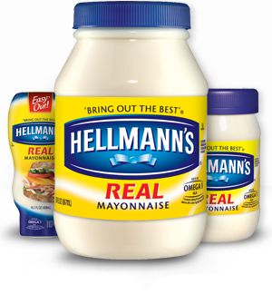 Hellman's Mayonnaise 1 egg (room temp) 1 t. dry mustard 1 t. salt 1/4 c. veg oil. dash cayenne pepper 1 c. veg oil. 3 T. Vinegar Place First 5 ingredients in blender on low speed. While the machine is blending, SLOWLY pour in another 1/2 c. oil. Add the vinegar and the remaining oil. Blend until firm. Store in refrigerator.