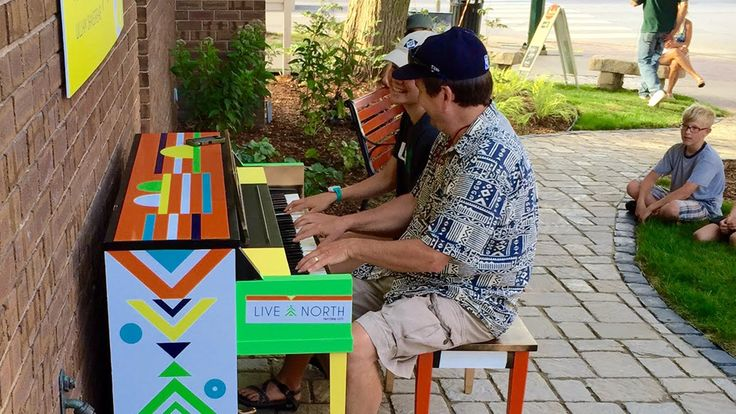 David Chown and his daughter Kaysen play a dazzling duet at Traverse City's new Street Piano!
