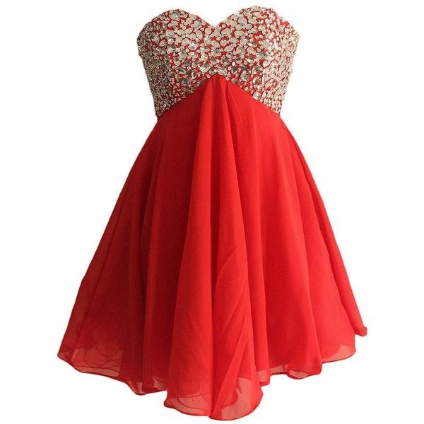 Sparkly Beaded Top Red Short Prom Dress for Juniors Lace Up Back... ($115) ❤ liked on Polyvore featuring dresses, short prom dresses, prom dresses, beaded cocktail dress, red sparkly dress and red chiffon dress