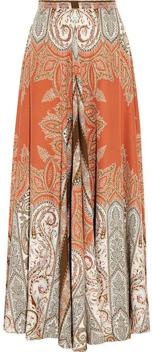 $2,415, Orange Paisley Maxi Skirt: Etro Printed Silk Crepe Maxi Skirt. Sold by NET-A-PORTER.COM.