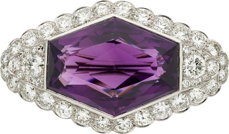 Estate Jewelry:Brooches - Pins, Art Deco Amethyst, Diamond, Platinum Brooch. ...
